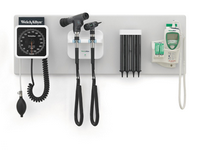 Green Series 777 Integrated Wall System with Aneroid Sphygmomanometer, PanOptic Ophthalmoscope 1, Otoscope, Temp, Kleenspec Disp